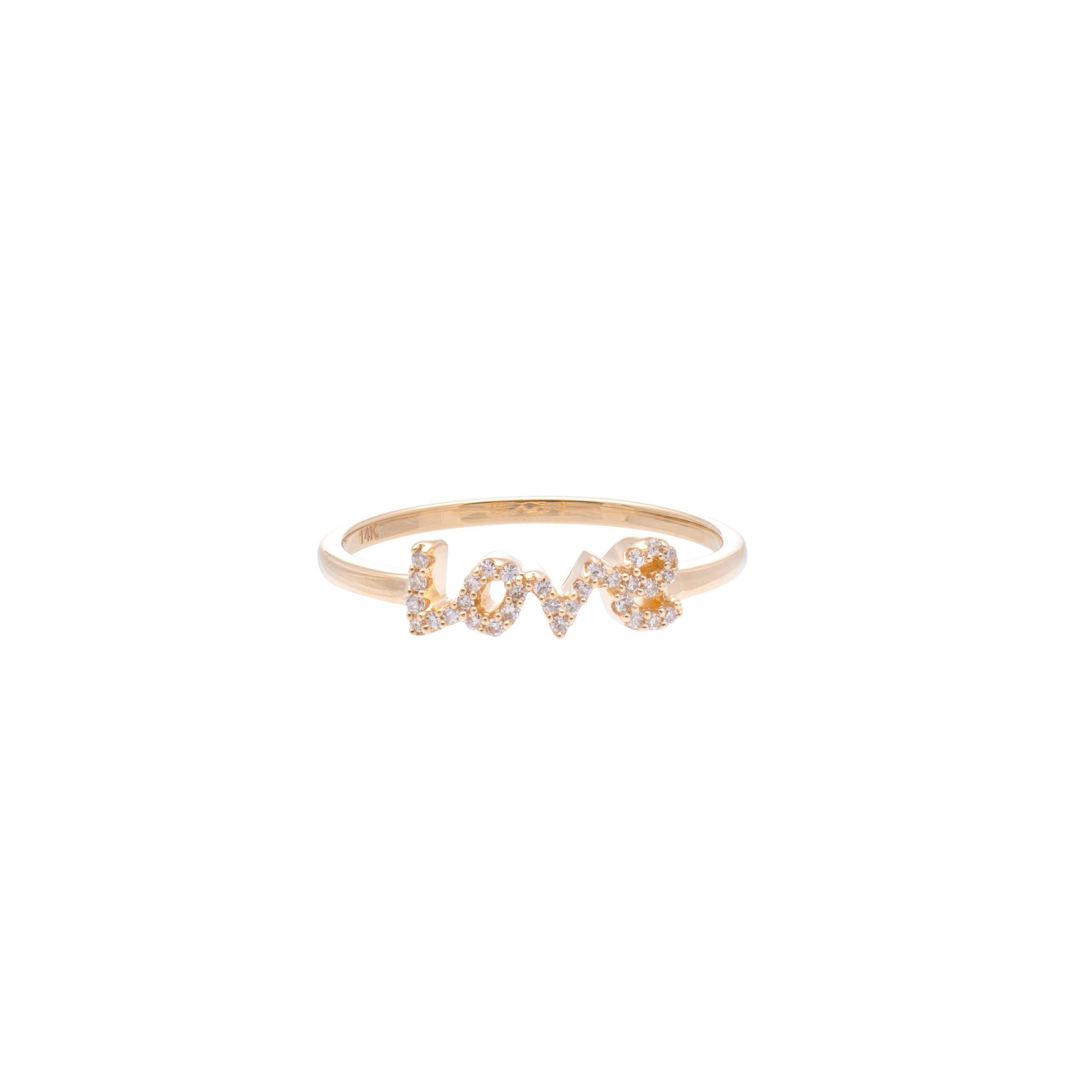 Diamond Love Script Ring Yellow Gold