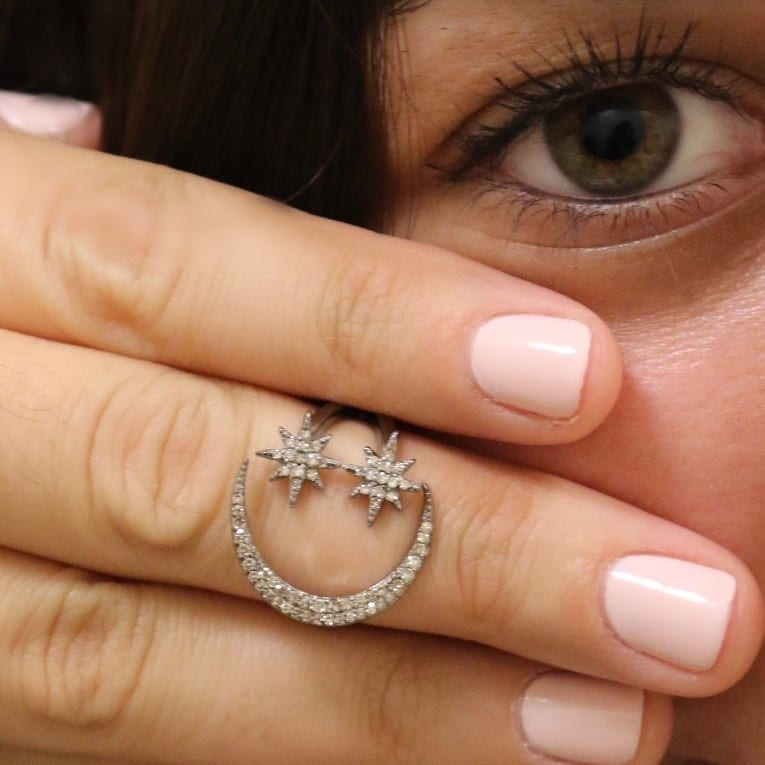 Diamond Moon + Star Ring
