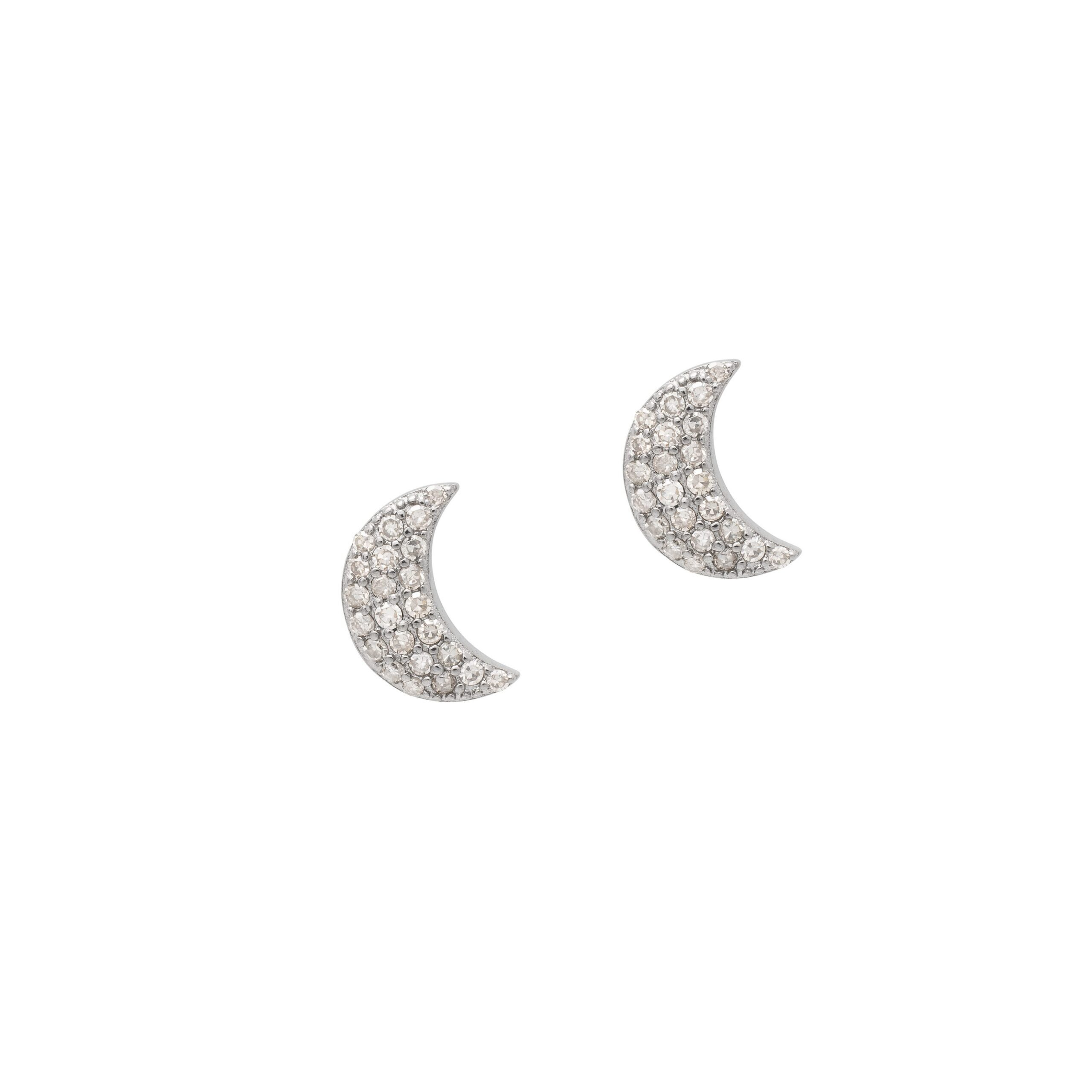 Diamond Moon Studs Sterling Silver
