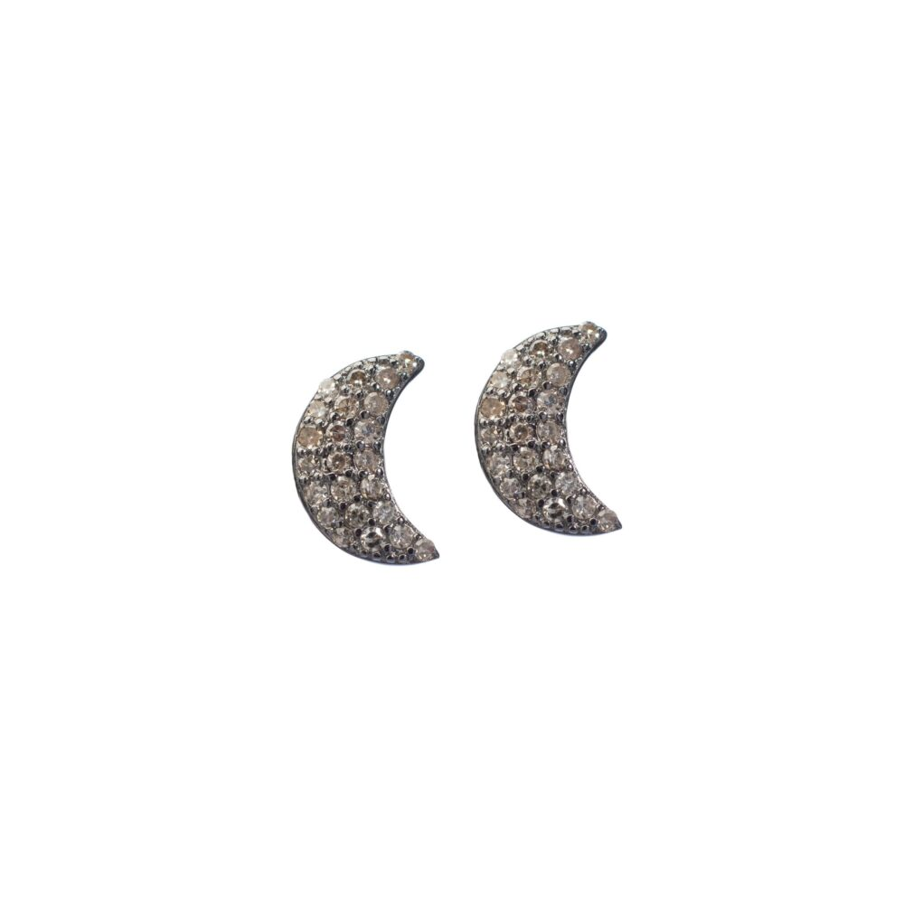 Diamond Moon Studs Sterling Silver
