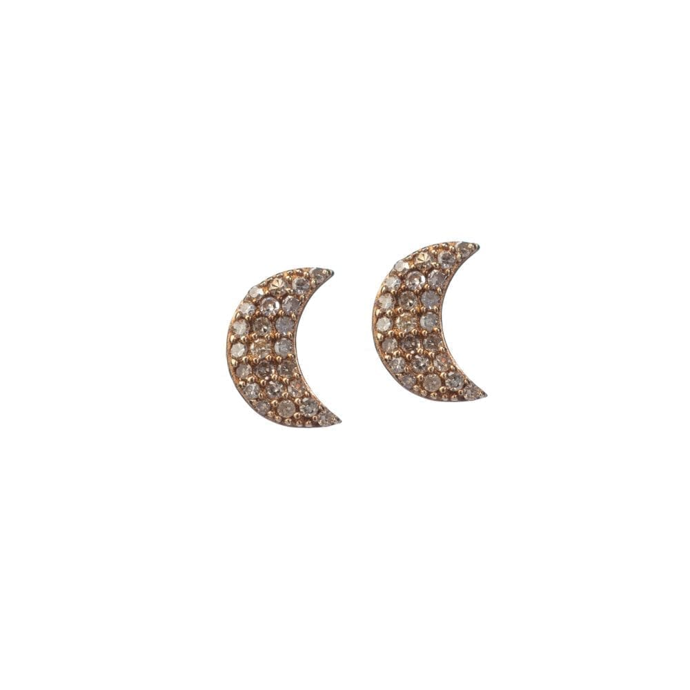Diamond Moon Studs Yellow Gold