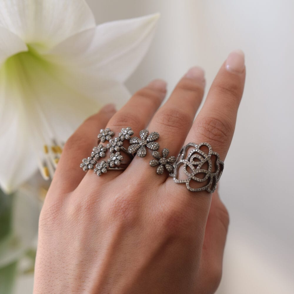 Diamond Multi Flower Ring