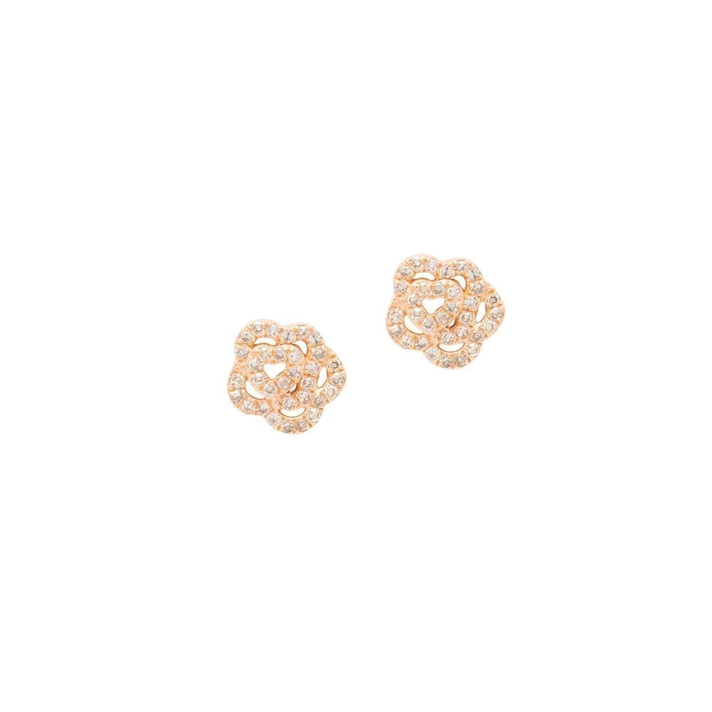 Diamond Rose Studs Rose Gold