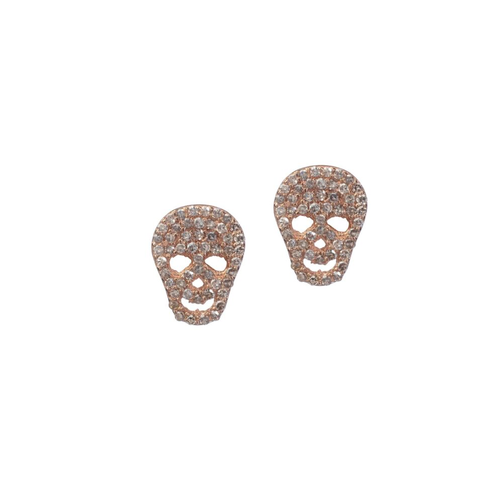 Diamond Skull Studs Rose Gold
