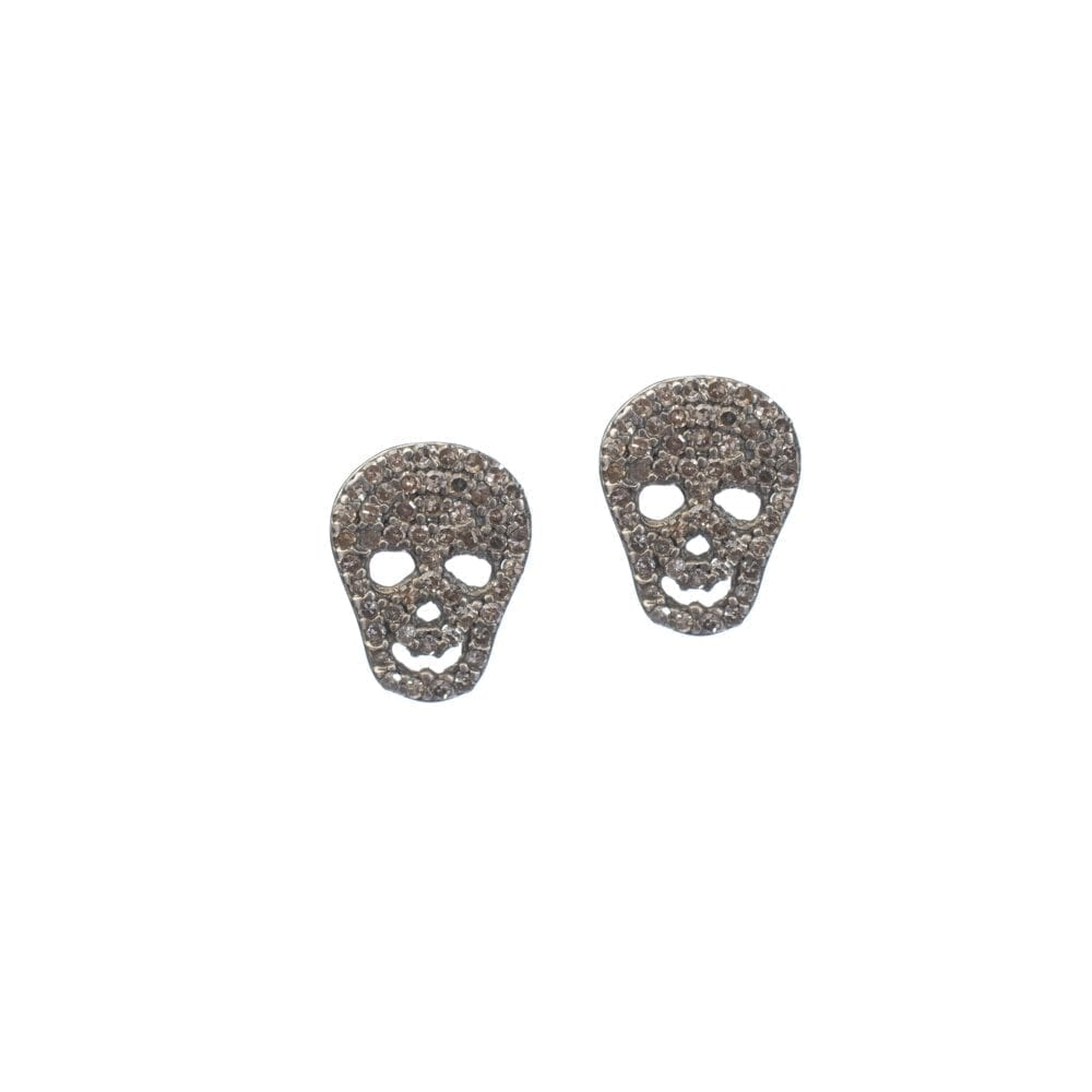 Diamond Skull Studs Sterling Silver