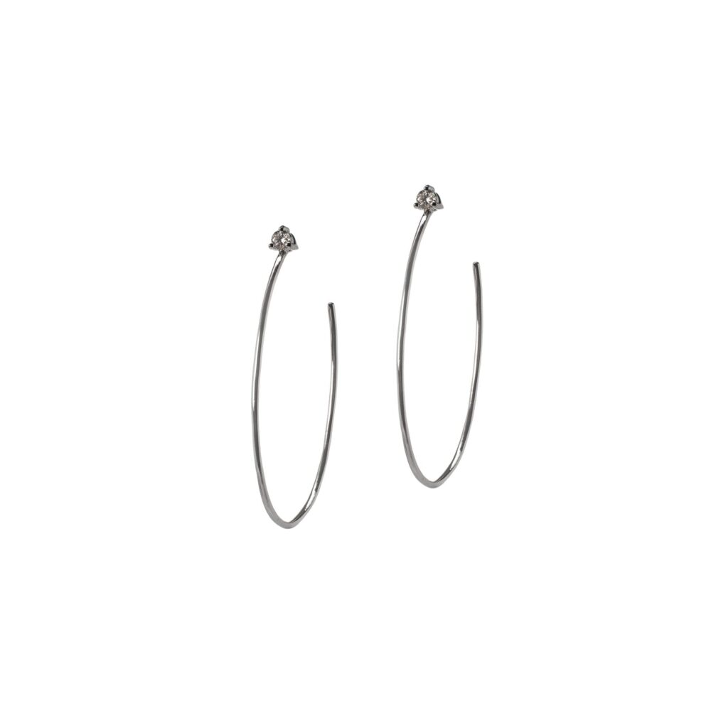 Diamond Stud Hoop Earrings Sterling Silver