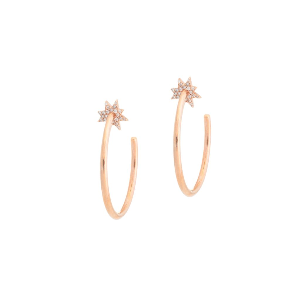 Diamond Sunburst Hoop Earrings Rose Gold