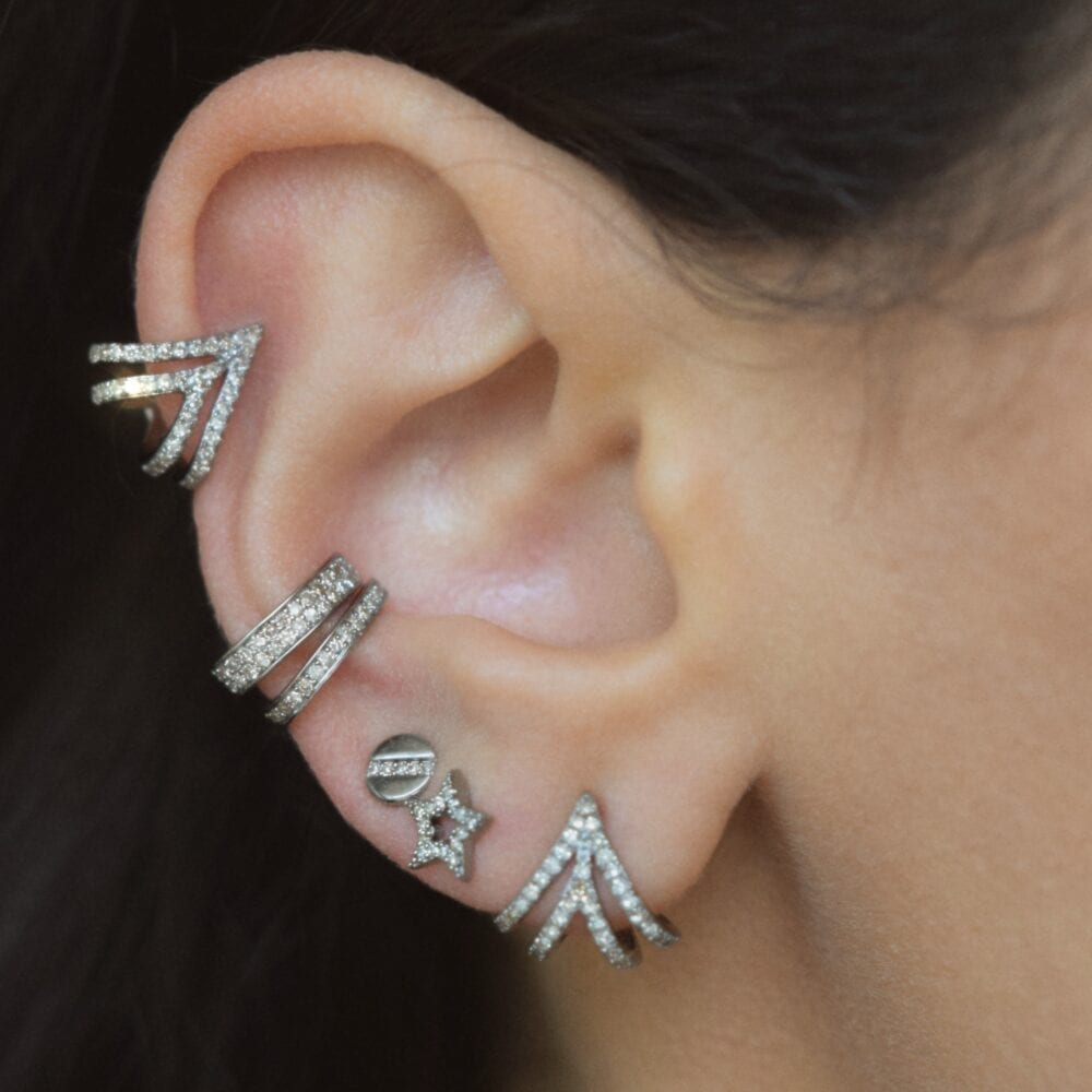 Diamond Triple Huggie Studs