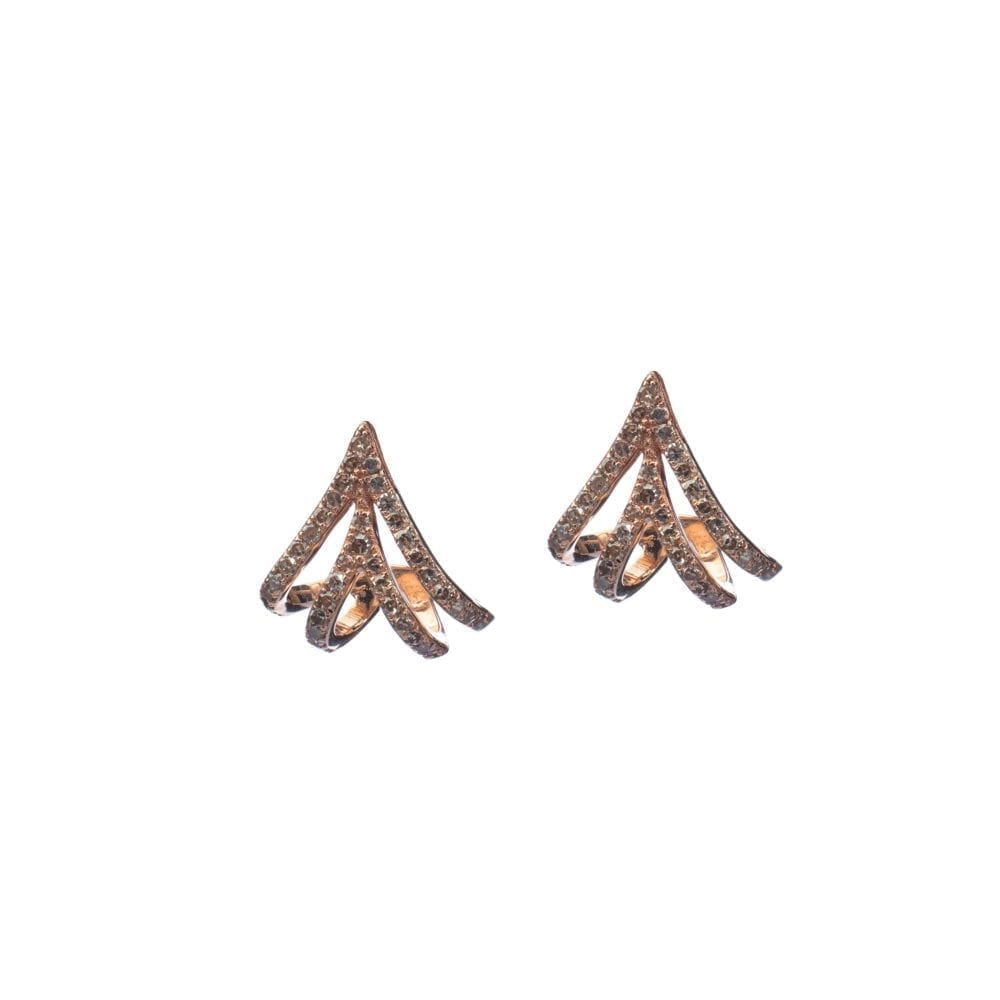 Diamond Triple Huggie Studs Rose Gold