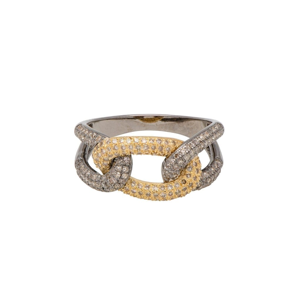 Diamond Triple Link Ring Silver and Gold