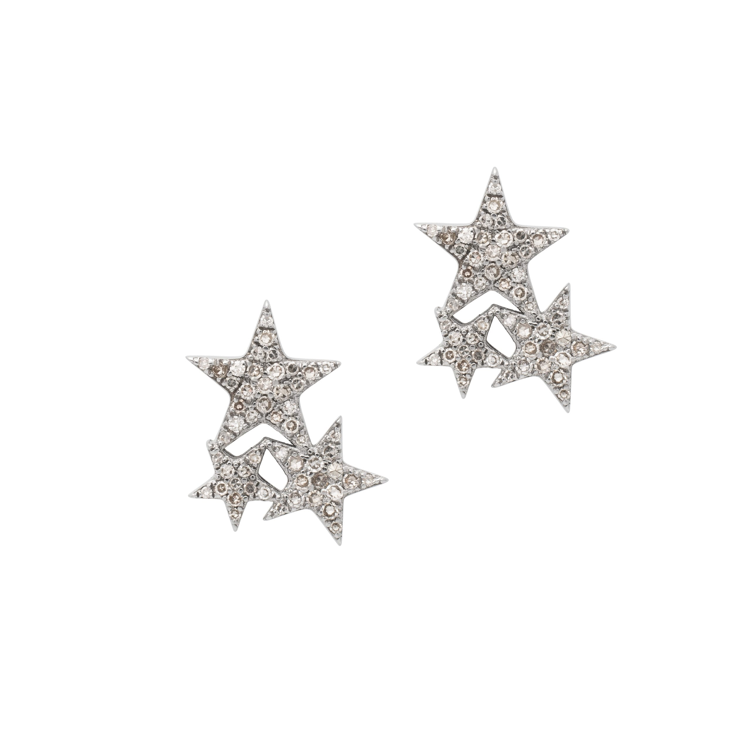 Diamond Triple Star Studs Sterling Silver