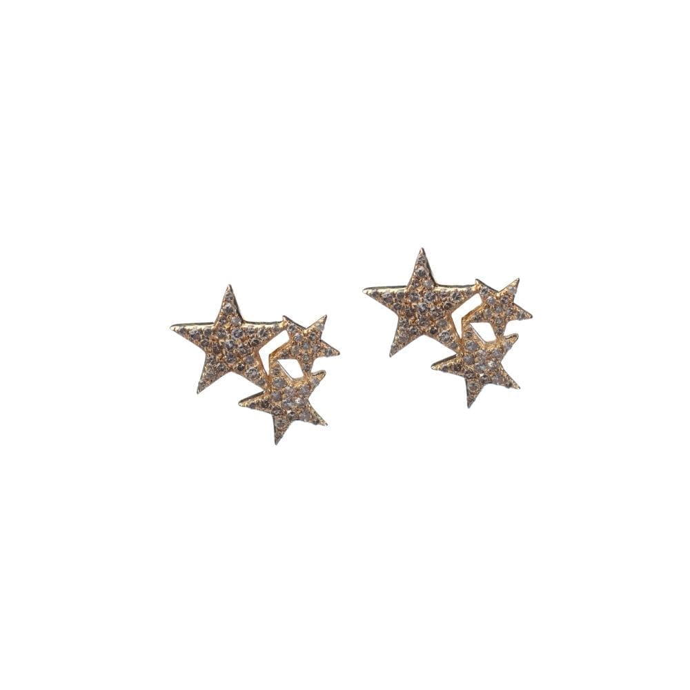 Diamond Triple Star Studs Yellow Gold