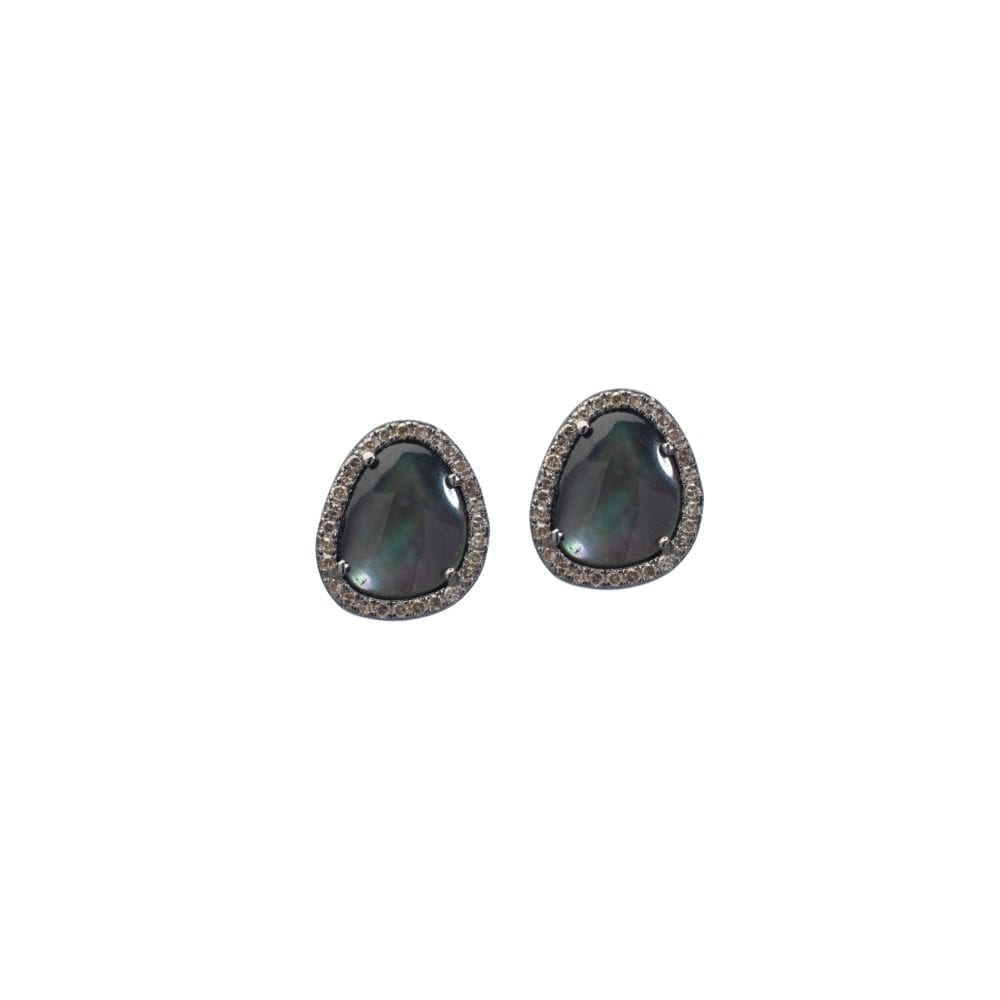 Gray Mother-of-Pearl Diamond Trimmed Studs