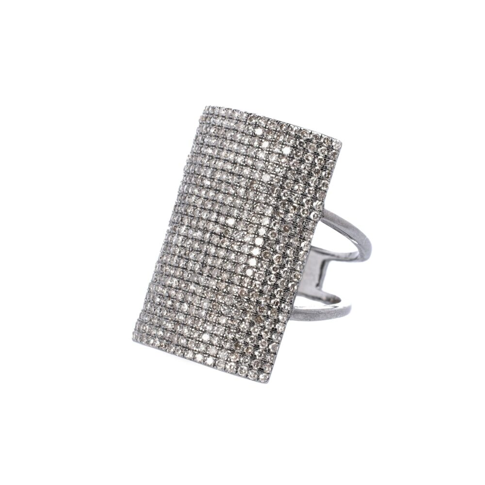 Large Rectangle Diamond Ring
