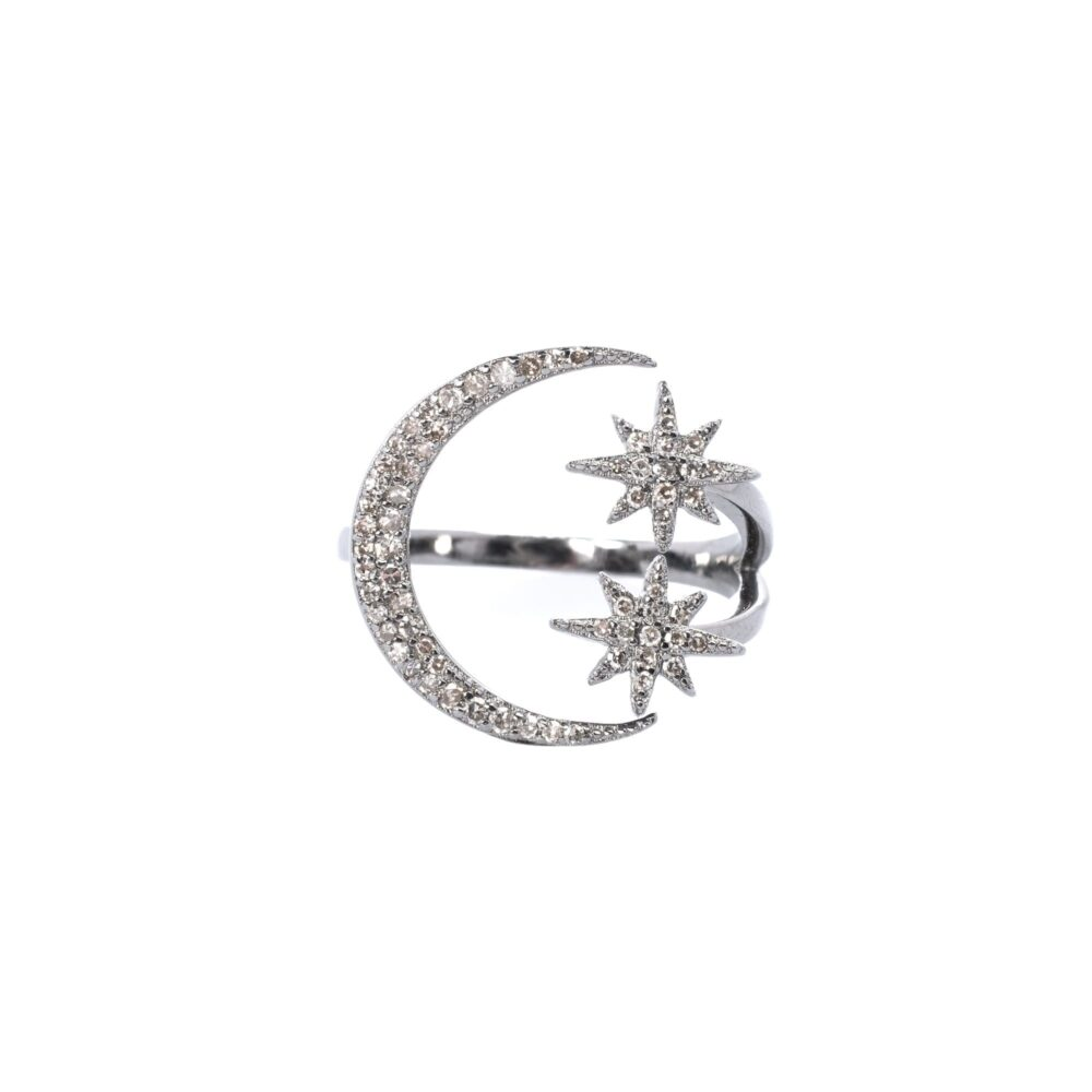 Diamond Moon + Star Ring