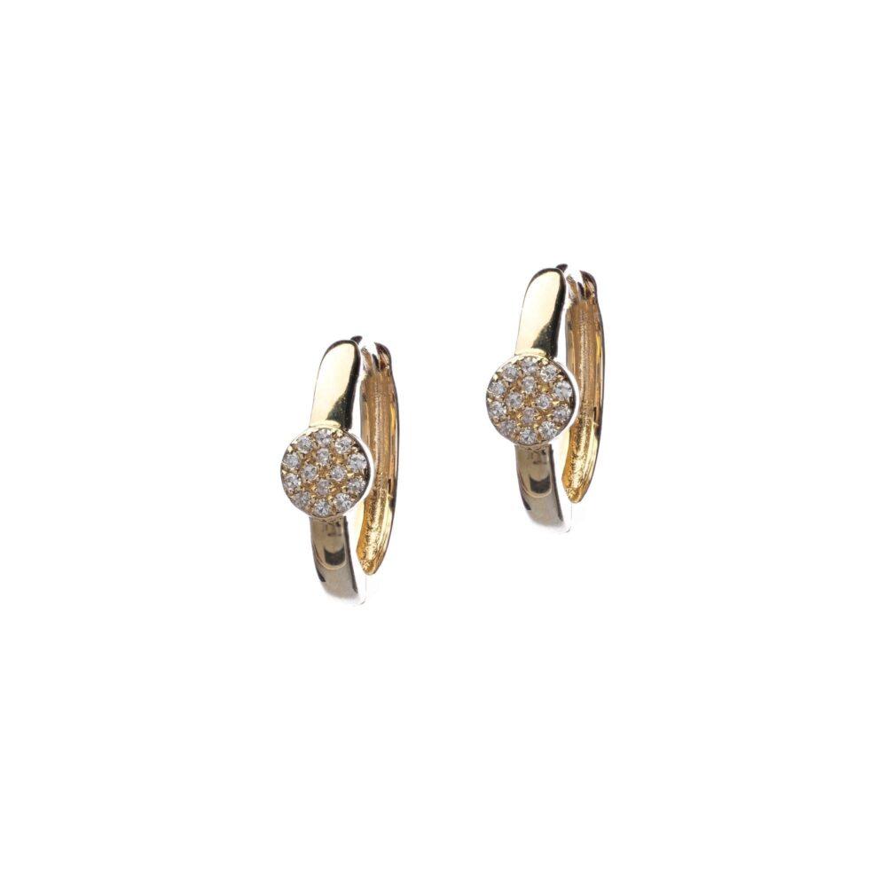 Huggie Earrings with Diamond Disc