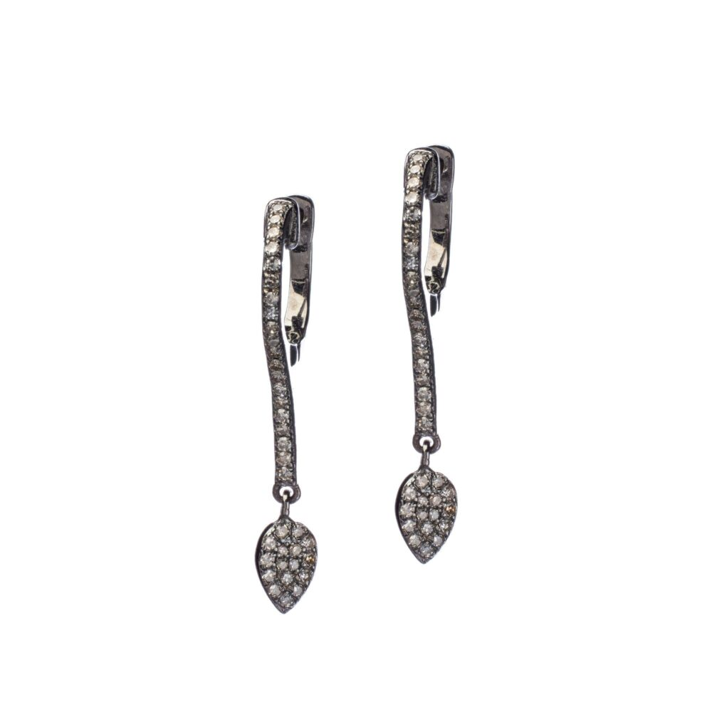 Diamond Bar Dangling Tear Drop Earrings