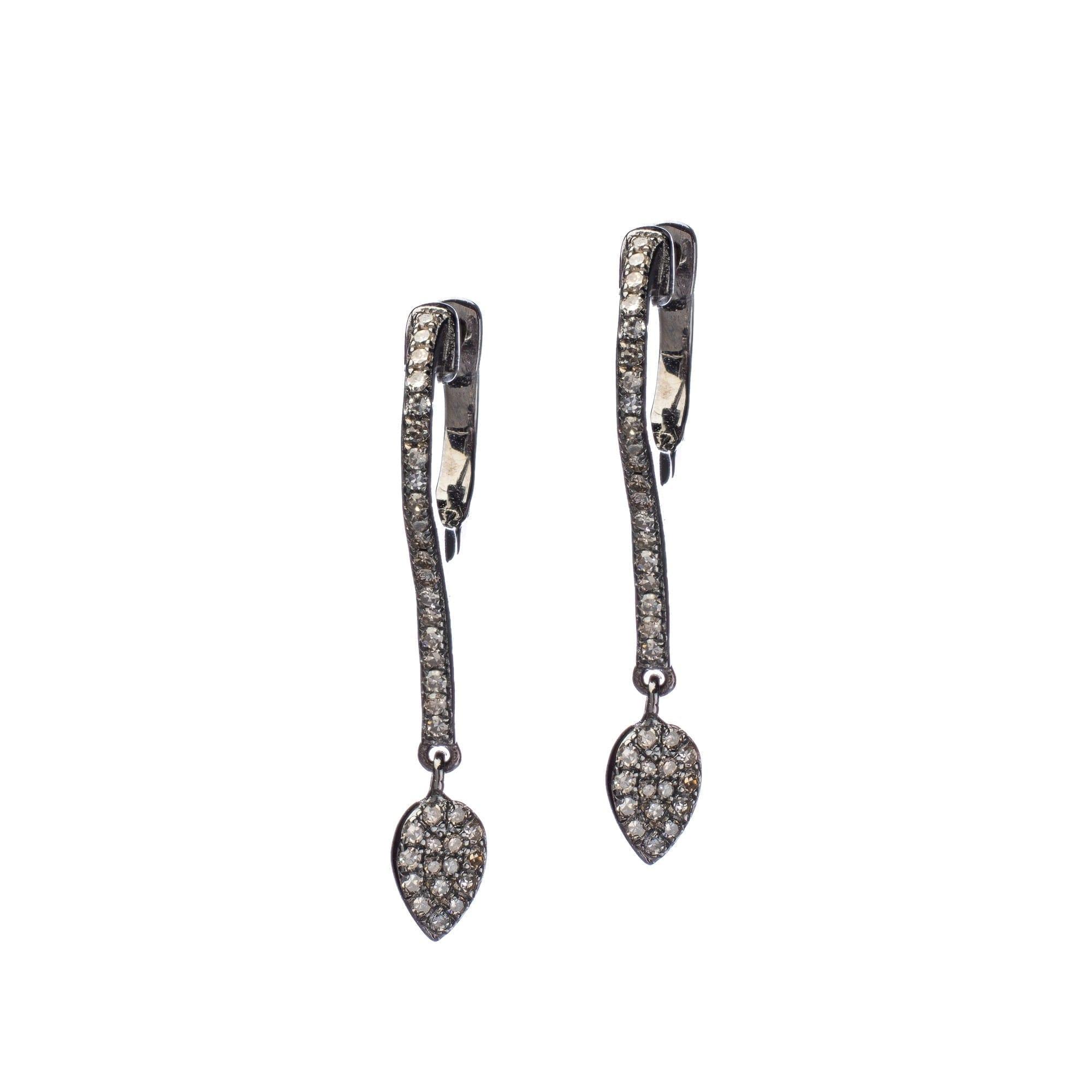 Diamond Bar Dangling Tear Drop Earrings