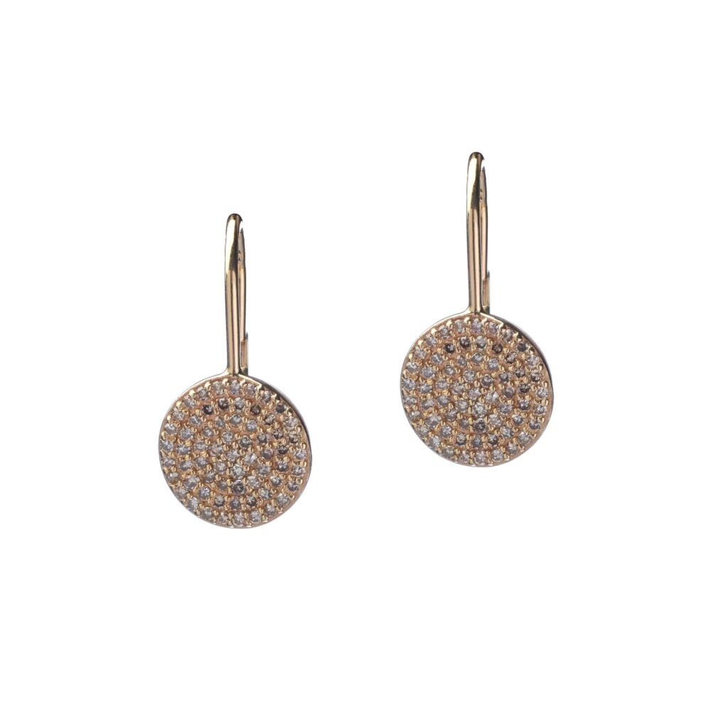 Diamond Small Circle Drop Earrings