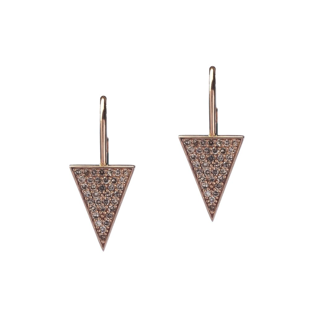 Diamond Triangle Drop Earrings