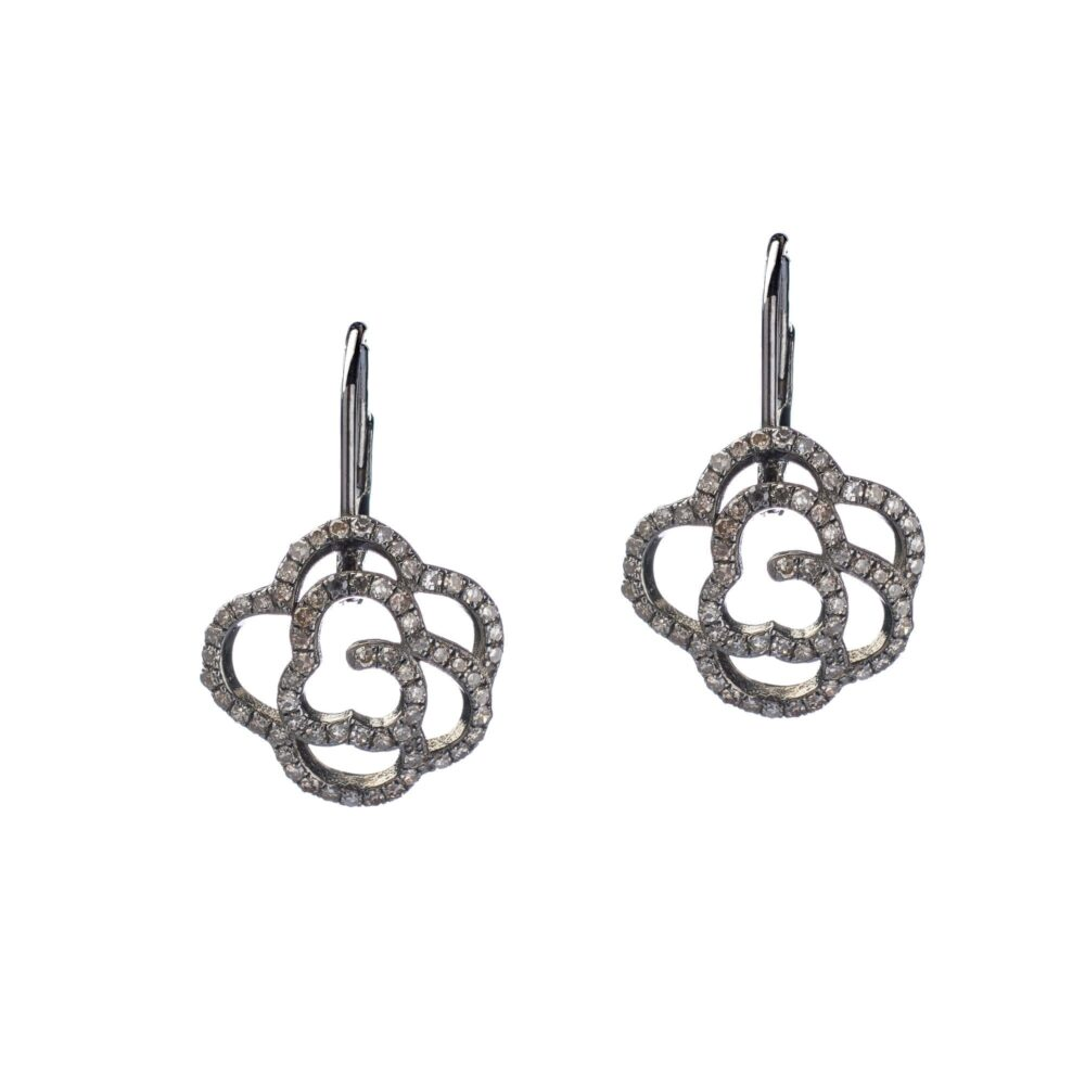 Diamond Rose Drop Earrings