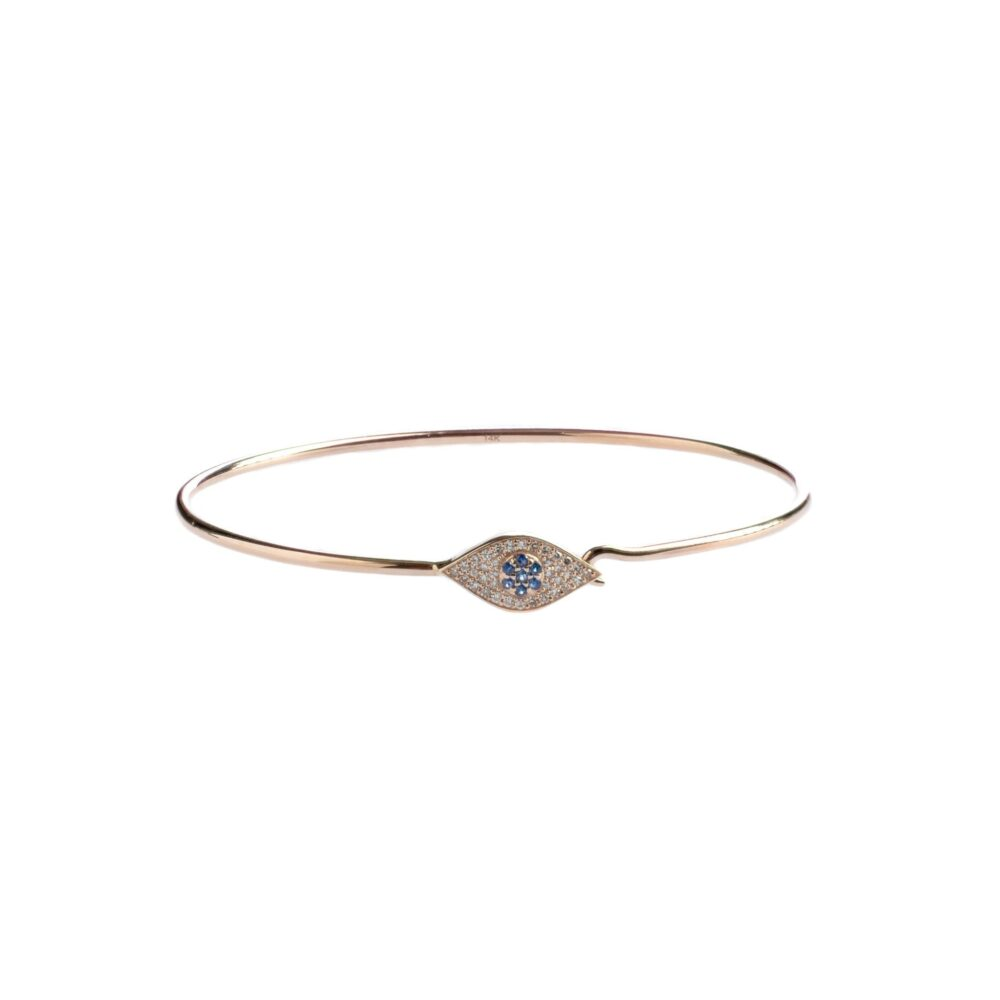 Diamond + Sapphire Evil Eye Bangle
