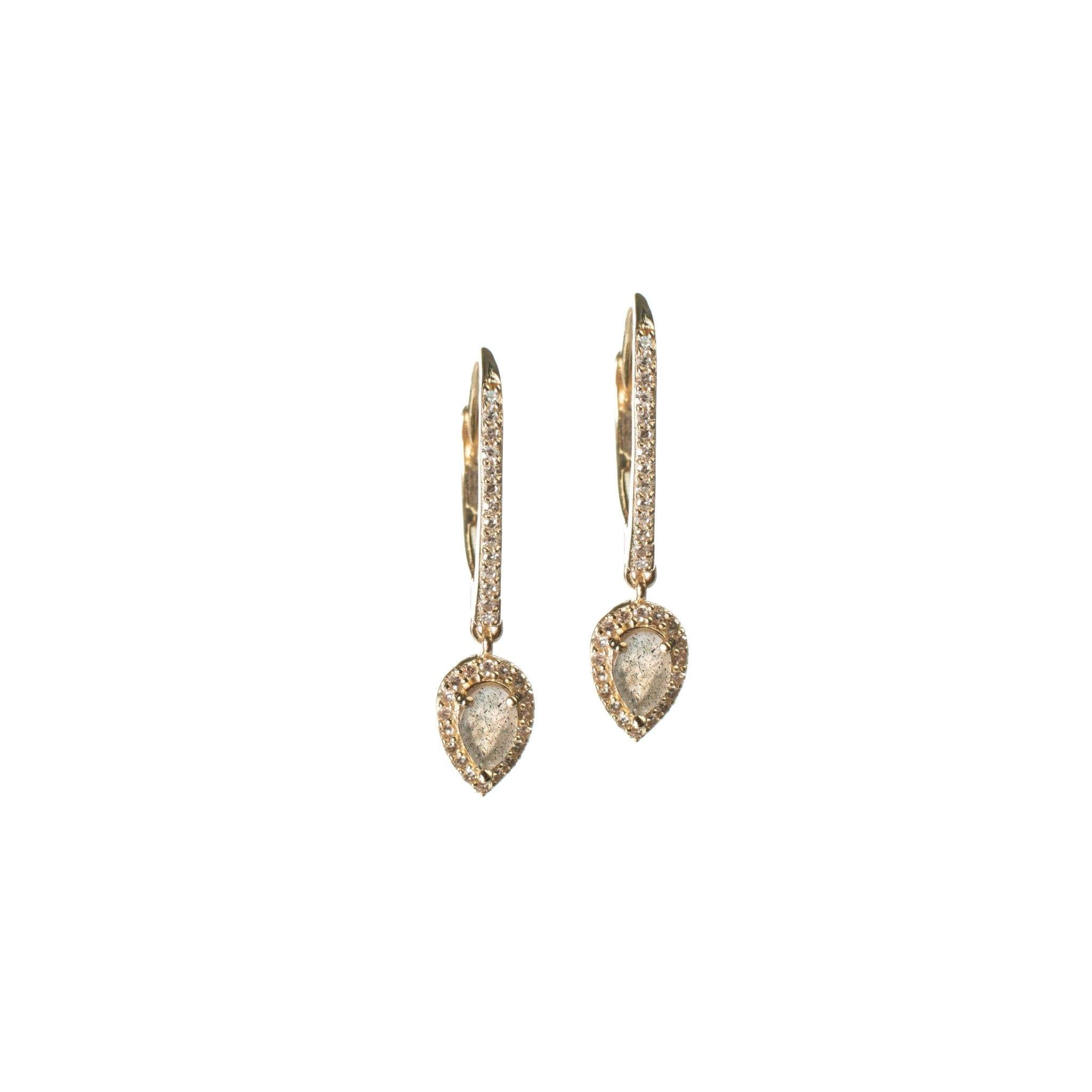 Diamond Labradorite Pear Drop Earrings