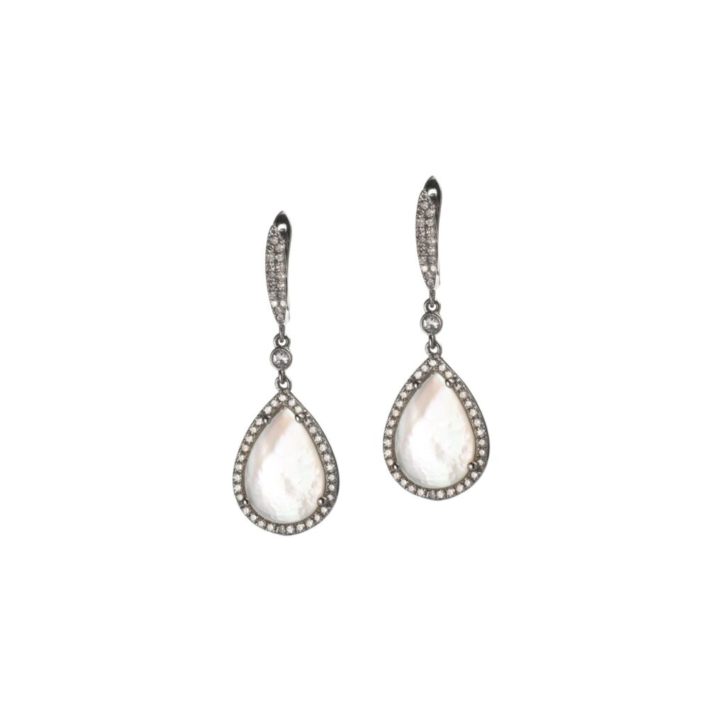 Diamond + Mother-of-Pearl Drop Earrings