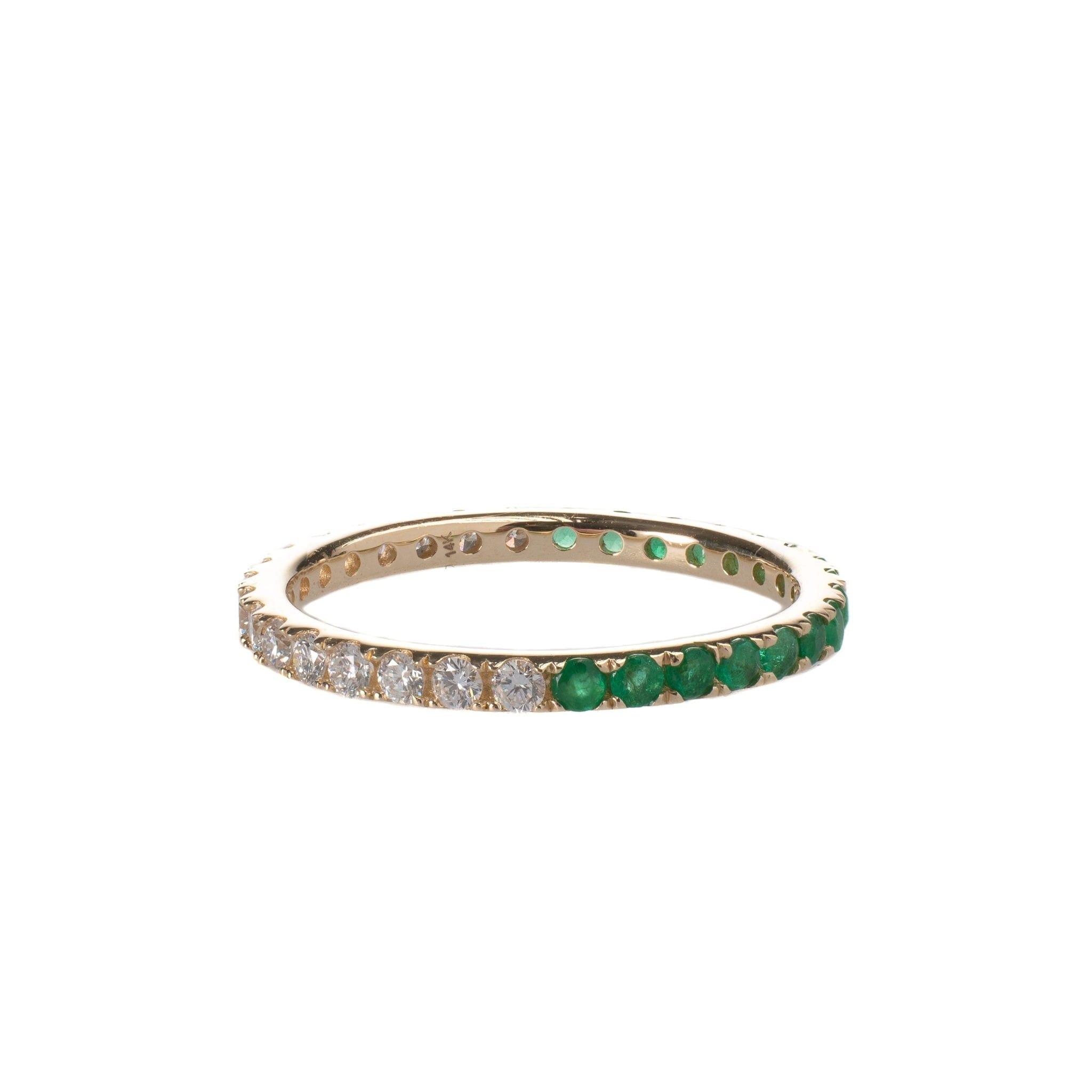 Diamond + Emerald Eternity Band