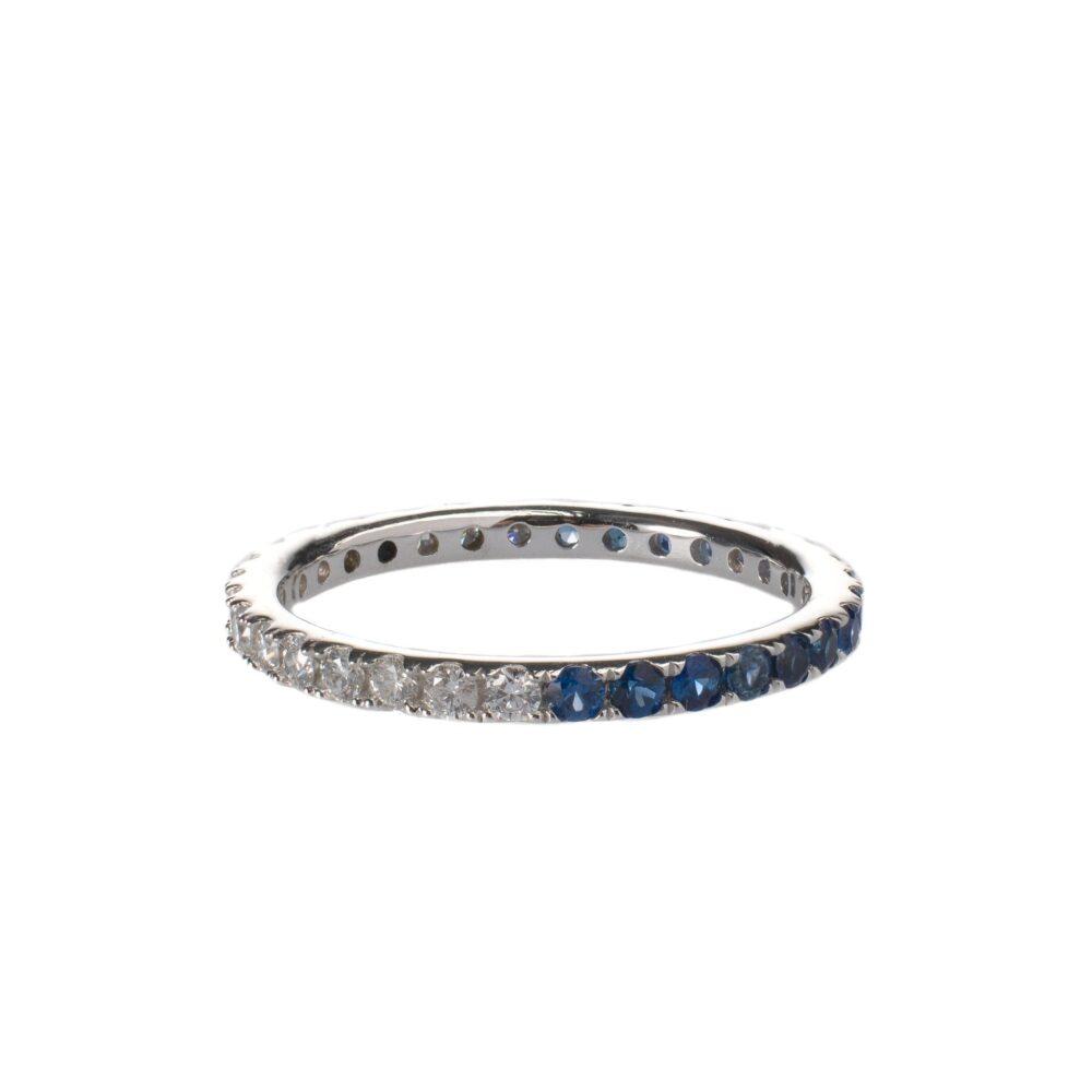Diamond + Sapphire Eternity Band