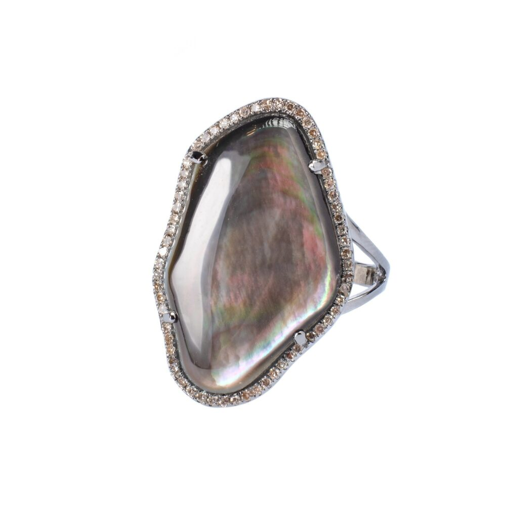 Gray Mother-of-Pearl Diamond Ring