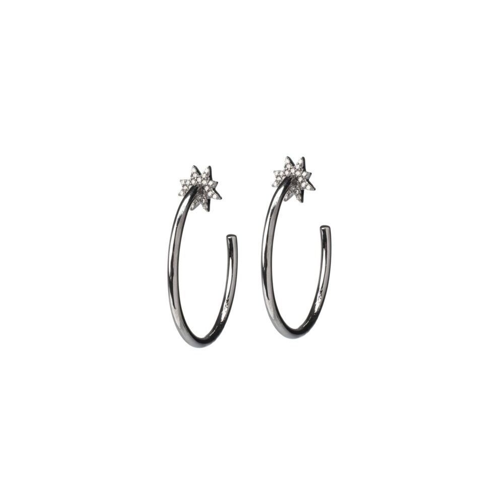 Diamond Sunburst Hoop Earrings