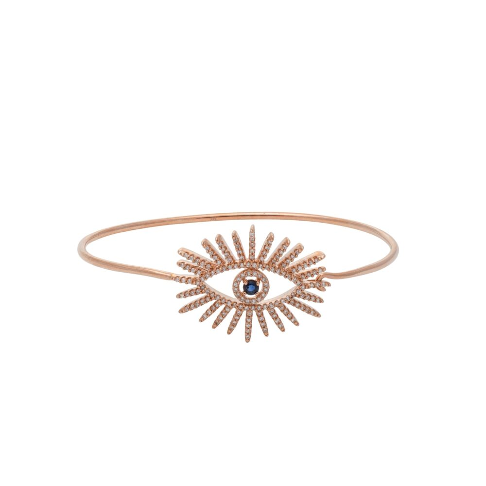 Large Diamond + Sapphire Eyelash Bangle Rose Gold