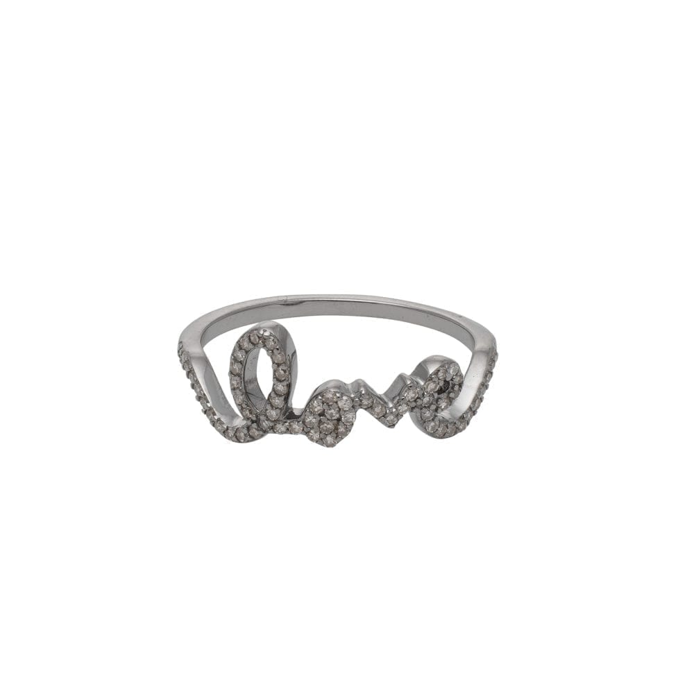 Diamond Love Script Ring Sterling Silver