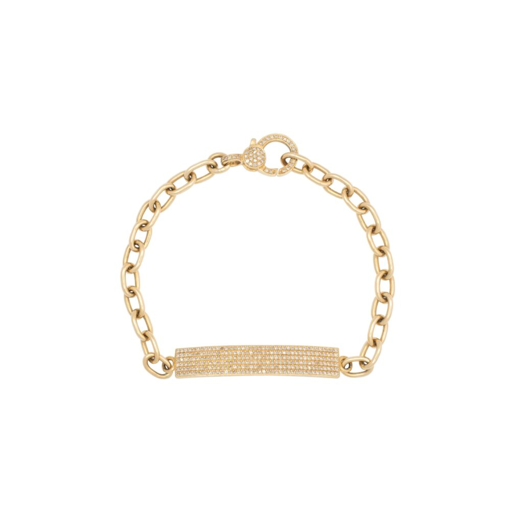 Skinny Rectangle Diamond ID Bracelet with Diamond Clasp Yellow Gold