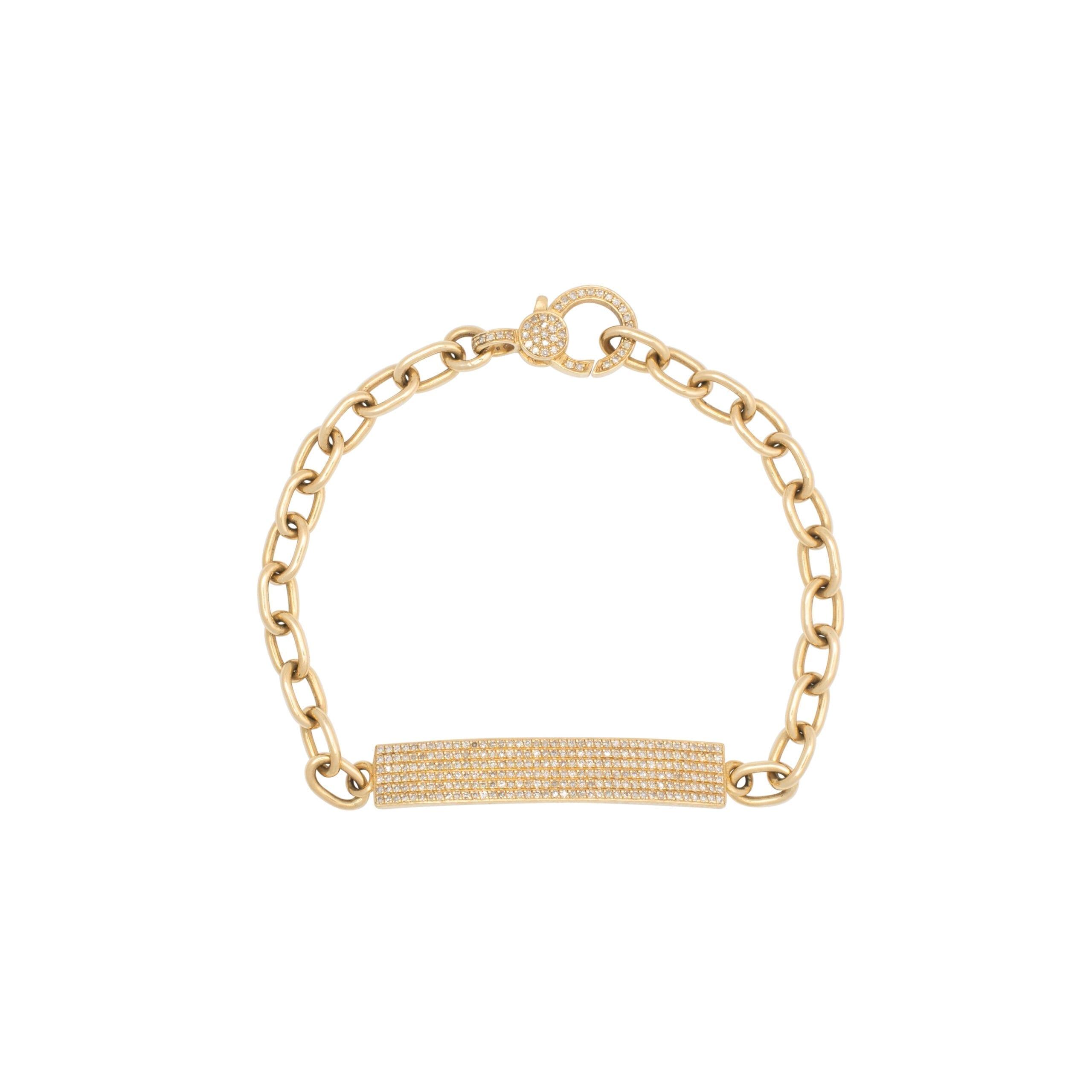 Skinny Rectangle Diamond ID Bracelet with Diamond Clasp Yellow Gold