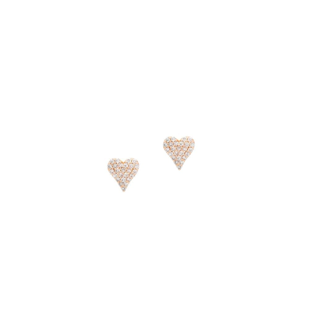 Small Diamond Heart Studs Rose Gold