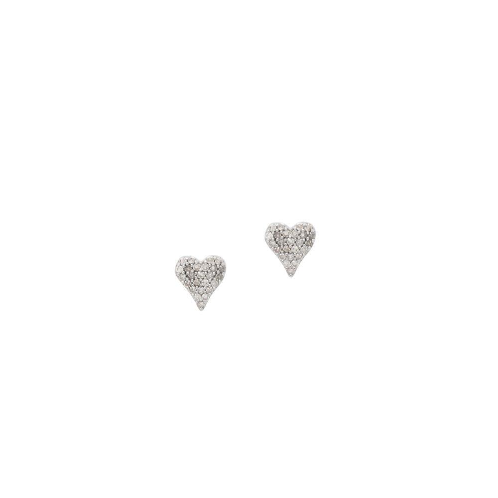 Small Diamond Heart Studs Sterling Silver