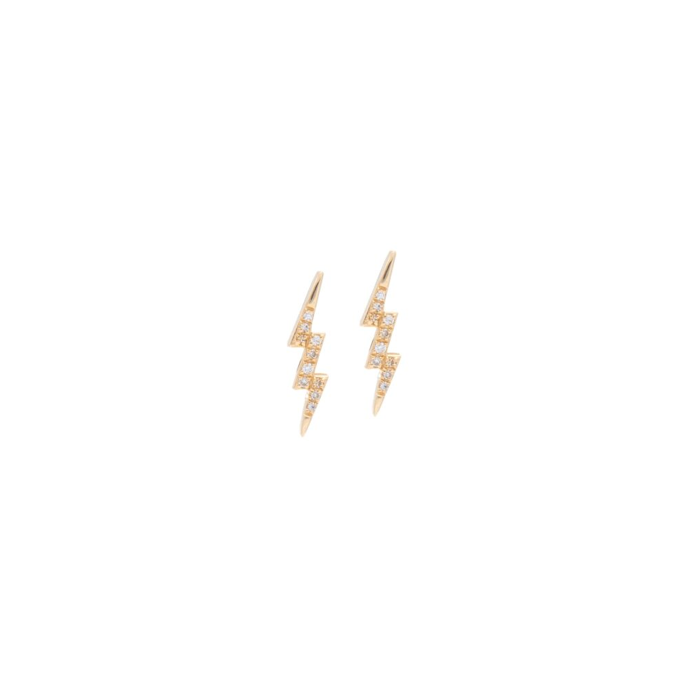 Small Diamond Lightning Bolt Studs Yellow Gold