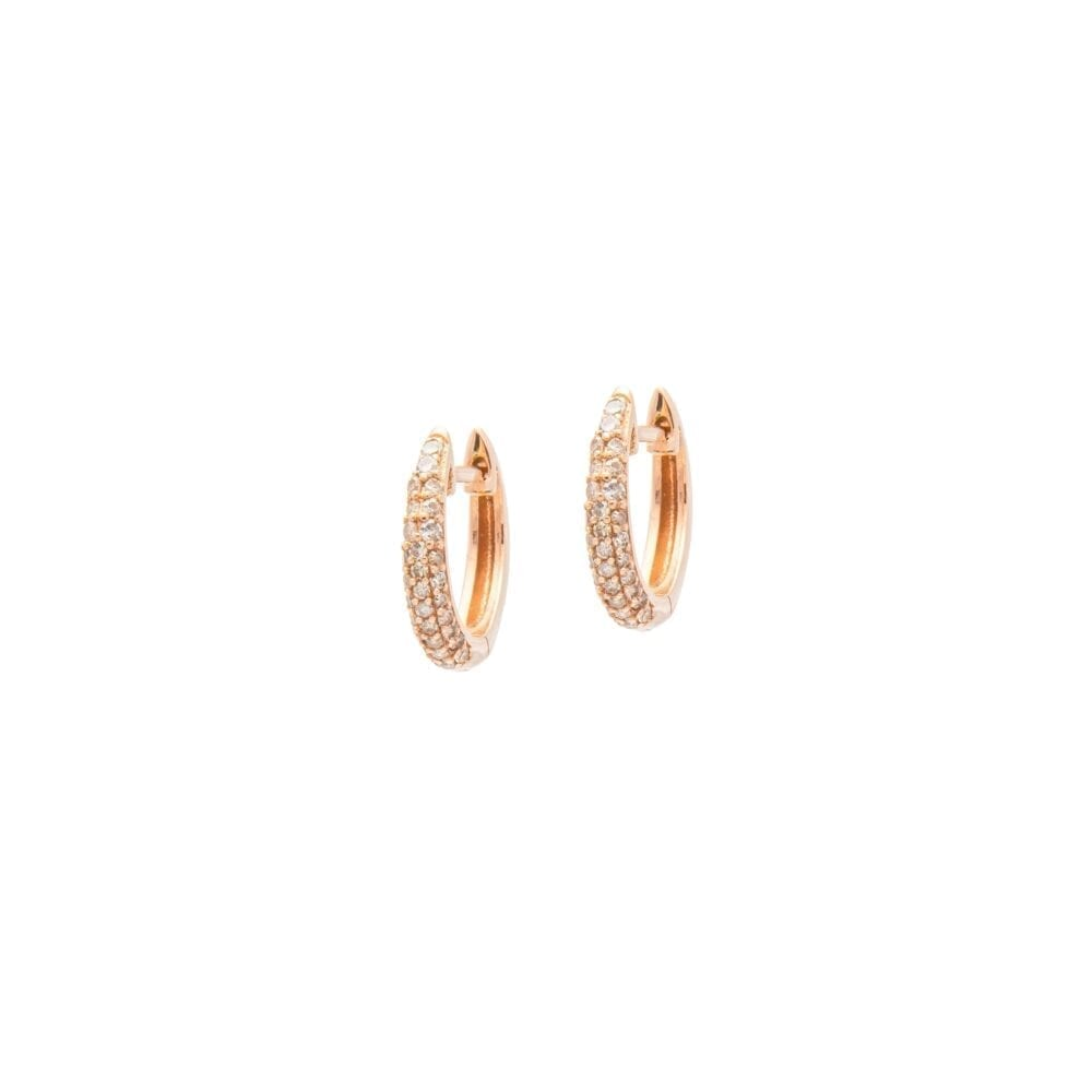 Small Tapered Diamond Huggie Earrings Rose Gold