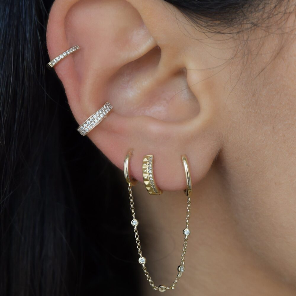 Studded Huggie Earrings with Diamonds