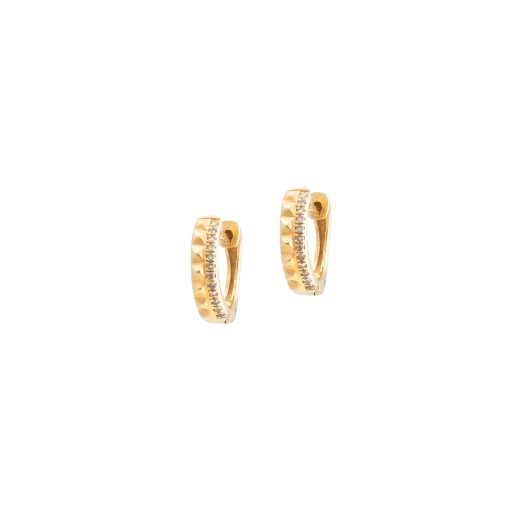 Studded Huggie Earrings with Diamonds Yellow Gold