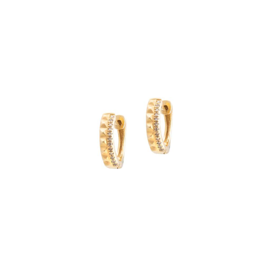 Studded Huggie Earrings with Diamonds Yellow Gold