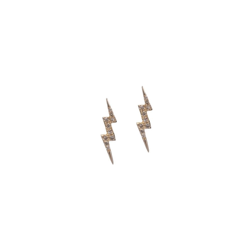 Tiny Diamond Lightning Bolt Studs Yellow Gold