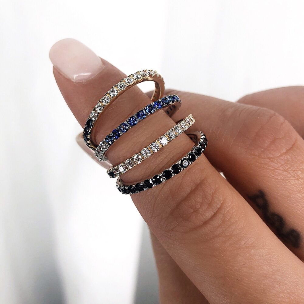 White + Black Diamond Eternity Band