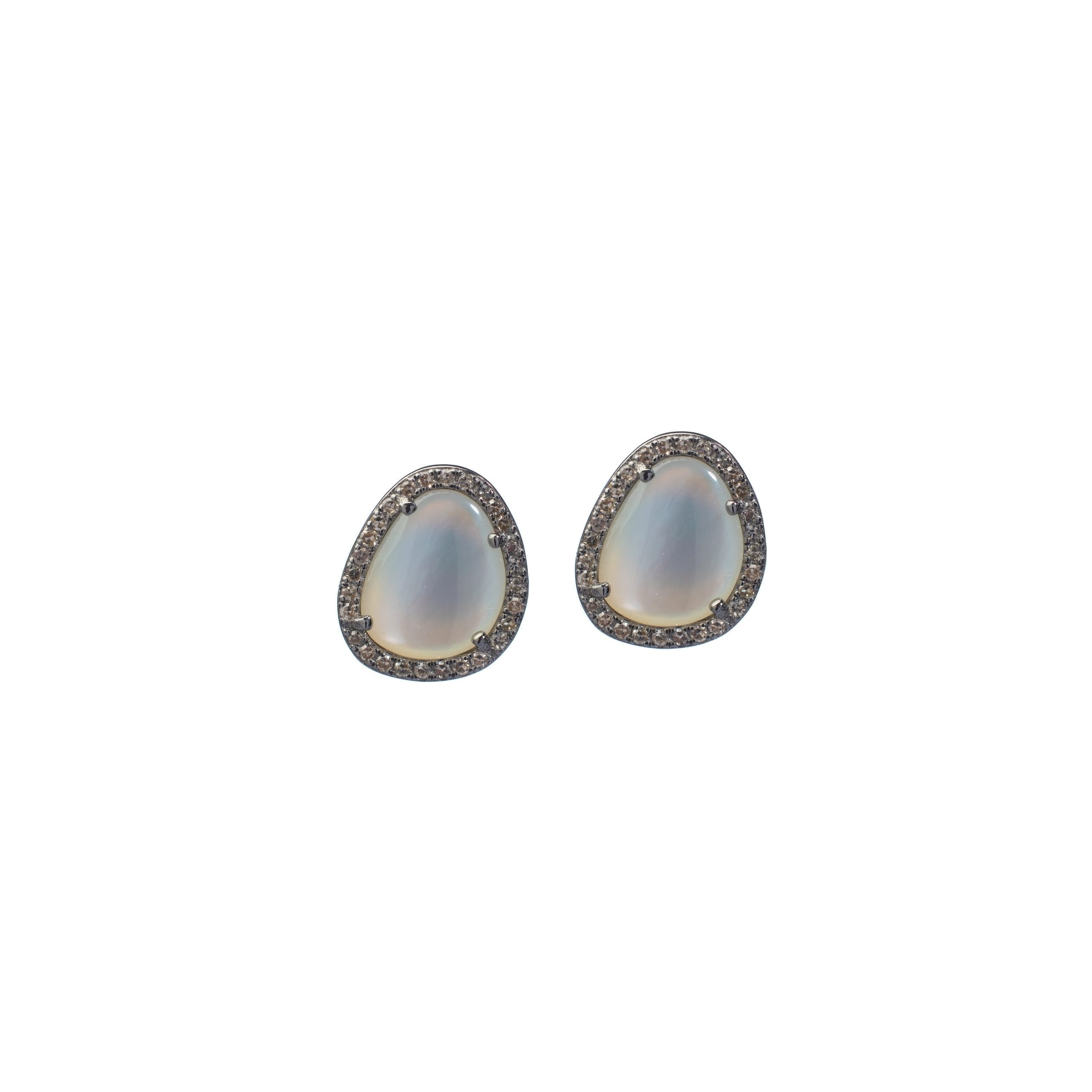 White Mother-of-Pearl Diamond Trimmed Studs