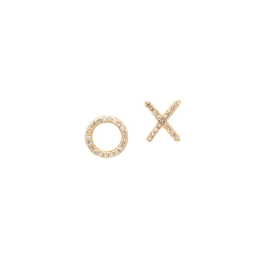 X + O Studs Yellow Gold