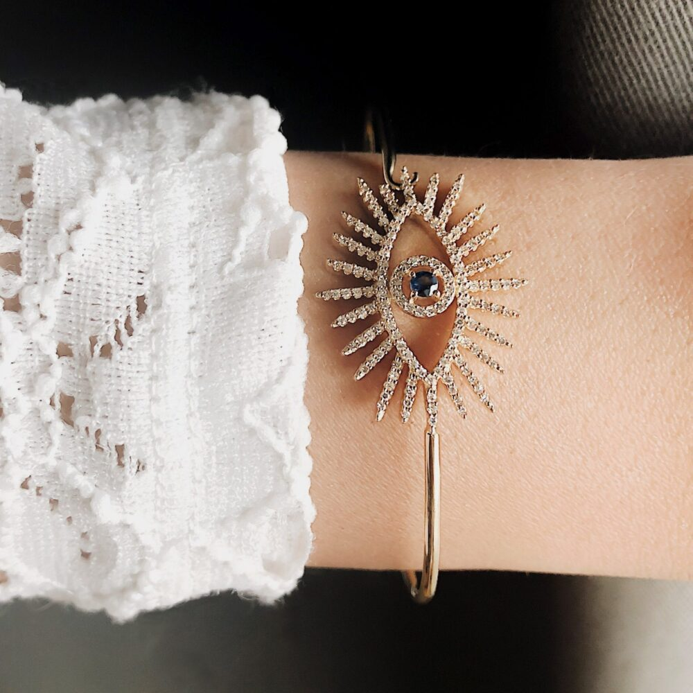 Large Diamond + Sapphire Eyelash Bangle