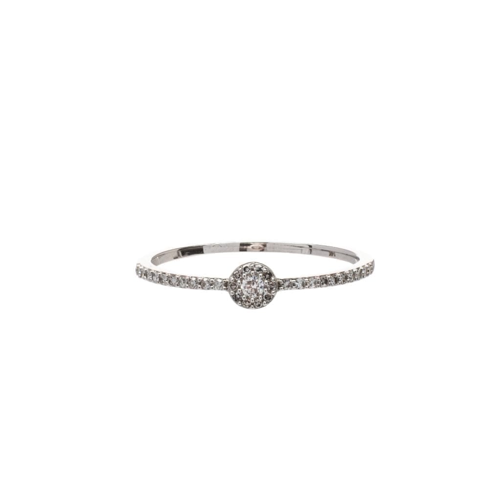Diamond Circle Halo Ring White Gold