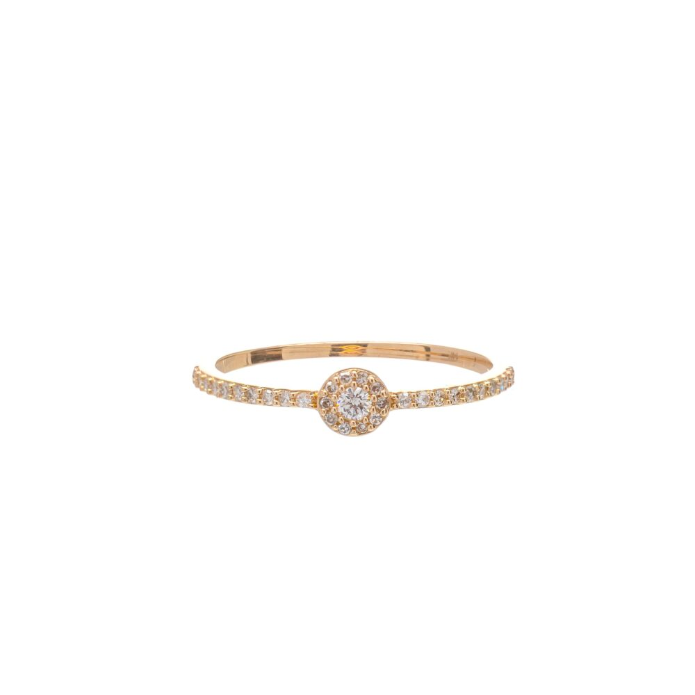 Diamond Circle Halo Ring Yellow Gold